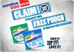 Free Mentos Pure Fresh gum pack